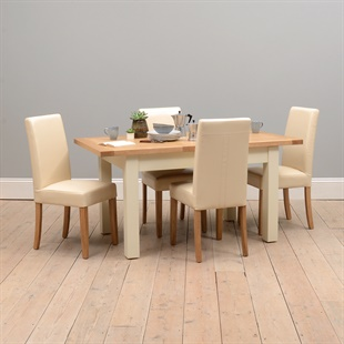 Sussex Cotswold Cream 132-162-192cm Table with 4 Leather Chairs