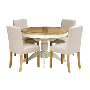 Sussex Painted 110-145cm Round Table with 4 Linen Chairs