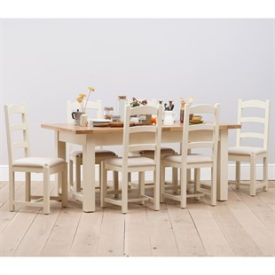 Sussex Painted 180-220-260cm Ext. Table with 6 Linen Seat Chairs