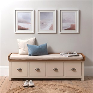 Sussex Cotswold Cream Four Drawer Shoe Bench with Cushion