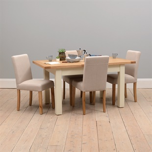 Sussex Painted 132-162-192cm Table with 4 Linen Chairs