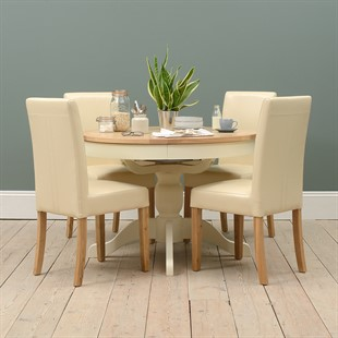 Sussex Cotswold Cream 110-145cm Round Table with 4 Leather Chairs