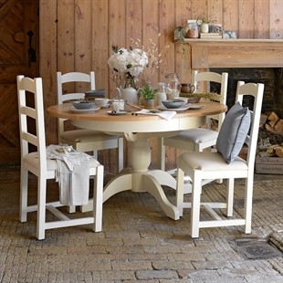 Sussex Cotswold Cream 110-145cm Round Table with 4 Linen Seat Chairs