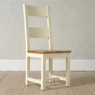 Sussex Cotswold Cream Ladderback Chair with Wooden Seat Pad