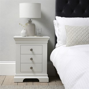 Chantilly Warm White 3 Drawer Bedside