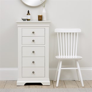 Chantilly Warm White Tall 5 Drawer Chest