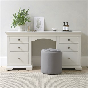 Chantilly Warm White Double Pedestal Dressing Table