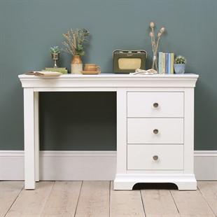 Chantilly Warm White Single Pedestal Dressing Table / Desk
