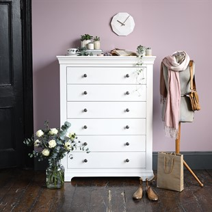 Chantilly Warm White Tall 6 Drawer Chest