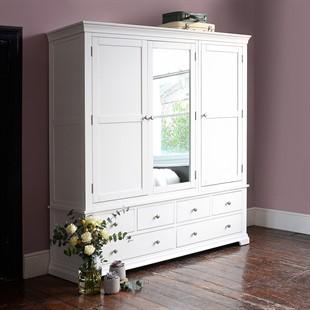 Chantilly Warm White Grand Triple Wardrobe