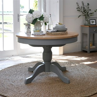 Sussex Storm Grey 110-145cm Round Extending Table
