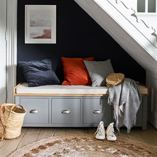 Sussex Storm Grey Four Drawer Shoe Bench with Cushion