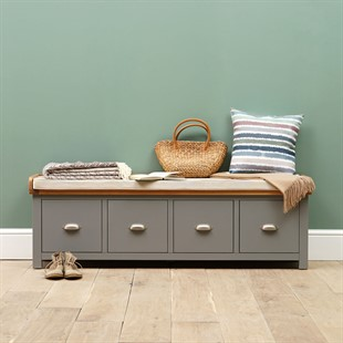 Florence Grey Four Drawer Shoe Bench With Cushion