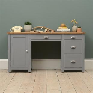 Sussex Storm Grey Double Pedestal Desk