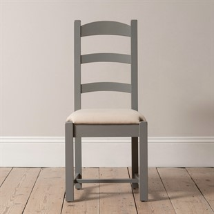 Sussex Storm Grey Ladderback Chair with Linen Seat Pad