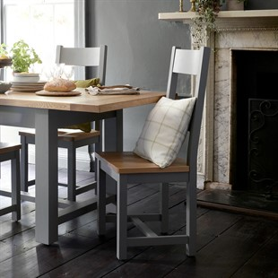 Sussex Storm Grey Ladderback Chair with Wooden Seat Pad