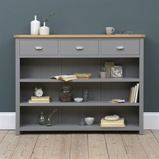 Sussex Storm Grey Tall and Wide Bookcase