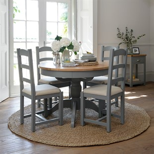 Sussex Storm Grey 110-145cm Round Table with 4 Linen Seat Chairs