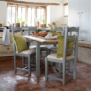 Sussex Storm Grey 90cm-155cm Table and 4 Linen Chairs