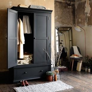 Chantilly Dusky Black Double Wardrobe