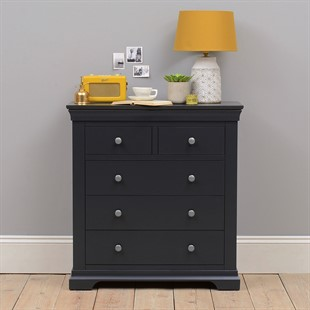 Chantilly Dusky Black 2 Over 3 Chest of Drawers