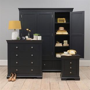 Chantilly Dusky Black Triple Wardrobe Bedroom Set