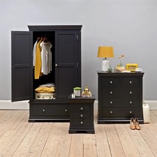Chantilly Dusky Black Double Wardrobe Bedroom Set