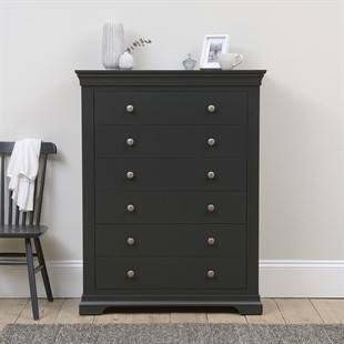 Chantilly Dusky Black NEW Tall 6 Drawer Chest