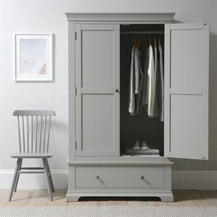 Chantilly Pebble Grey Double Wardrobe