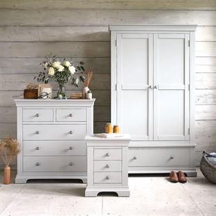 Chantilly Pebble Grey Double Wardrobe Bedroom Set