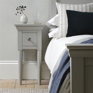 Chantilly Pebble Grey Petite 1 Drawer Bedside