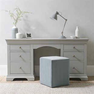 Chantilly Pebble Grey Double Pedestal Dressing Table