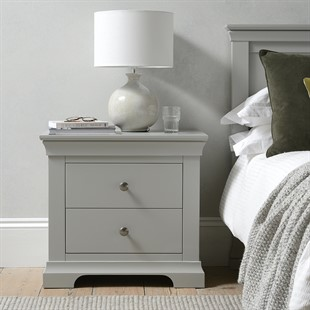 Chantilly Pebble Grey Large 2 Drawer Bedside