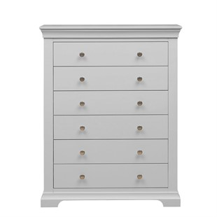 Chantilly Pebble Grey NEW Tall 6 Drawer Chest