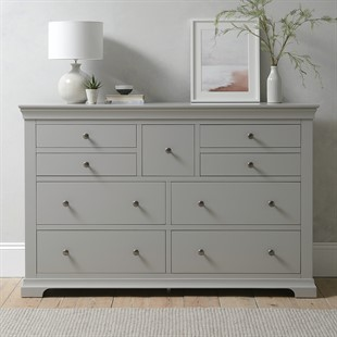 Chantilly Pebble Grey Wide 9 Drawer Chest