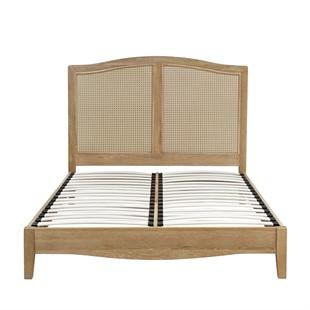 """Wickham Washed Oak 4ft 6"""" Double Bed - Cane Inlay"""