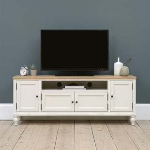 """Marlow Pale Grey Low and Wide TV Unit Up to 70"""""""