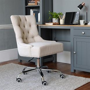 Upholstered Office Chair - Stone Linen