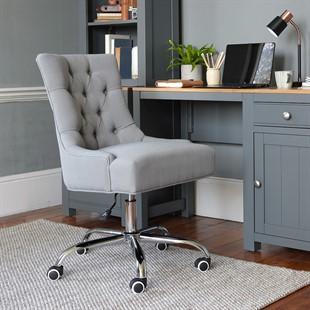Upholstered Office Chair - Grey Linen