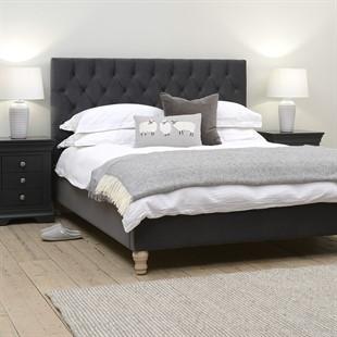 Evesham 5ft Kingsize Bed - Soft Velvet - Iron