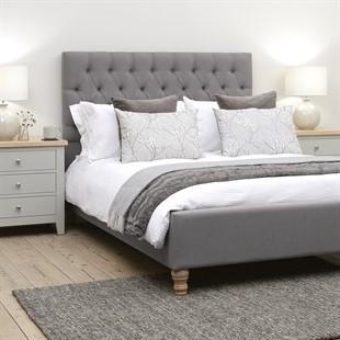 Evesham 4'6 Double Bed - Granite Linen