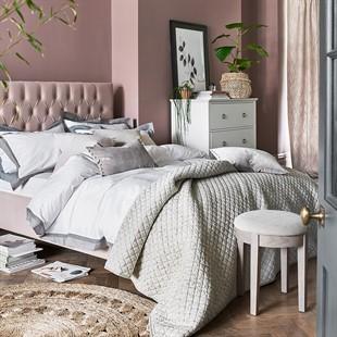 """Evesham 4ft 6"""" Double Bed - Blush Pink Velvet"""