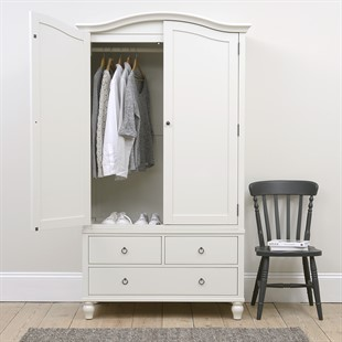 Wilmslow Pale Grey NEW Double Wardrobe with Drawers