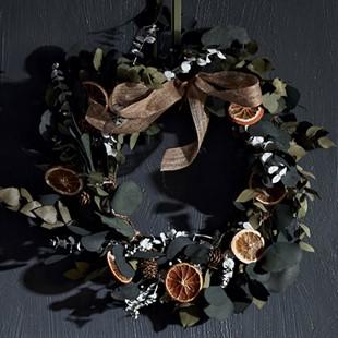 Eucalyptus, Fir Cone and Oranges Natural Christmas Wreath