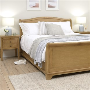 Winchcombe Oiled Oak NEW 6ft Super King Sleigh Bed