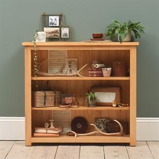 Oakley Pine Small Wide Bookcase