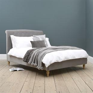 """Huxley 4ft 6"""" Double Bed - Soft Velvet - Flint"""