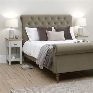 Hilcott 5ft Kingsize Scroll Bed  - Mink Velvet