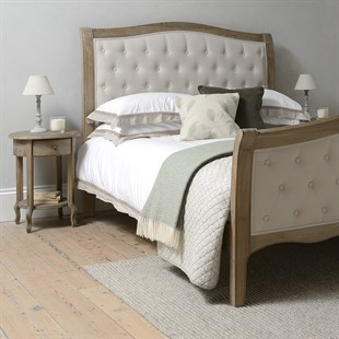Camille Limewash Oak Buttoned 5ft Kingsize Bed