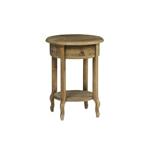 Camille Limewash Oak Round Side Table